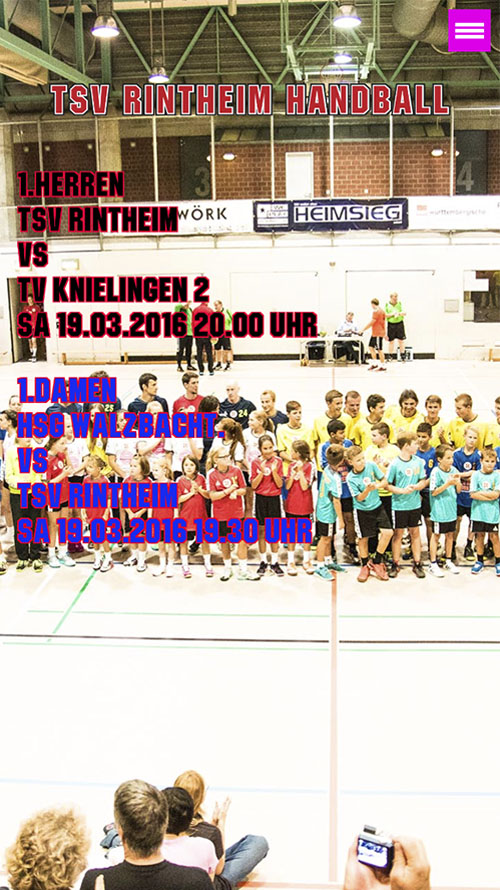 TSV Rintheim Handball Website Frontend
